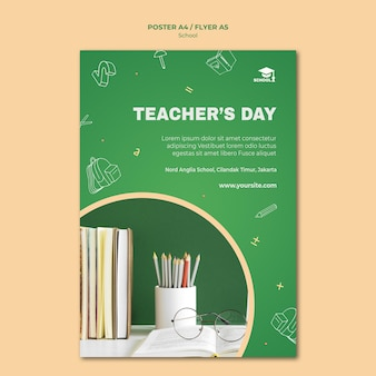 Modelo de cartaz de anúncio de volta às aulas