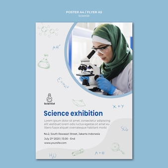 Modelo de cartaz de anúncio do clube de ciências