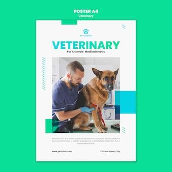Modelo de cartaz de anúncio veterinário