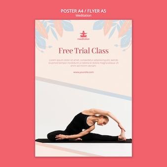 Modelo de cartaz de aulas de meditação com foto