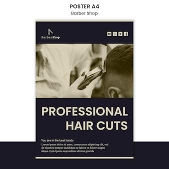 Modelo de cartaz de barbearia com foto