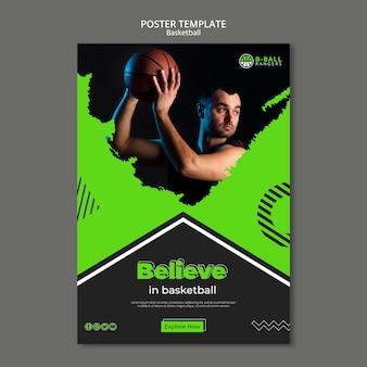 Modelo de cartaz de basquete theem