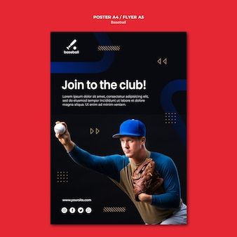 Modelo de cartaz de beisebol