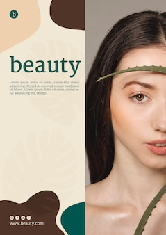 Modelo de cartaz de beleza com uma mulher
