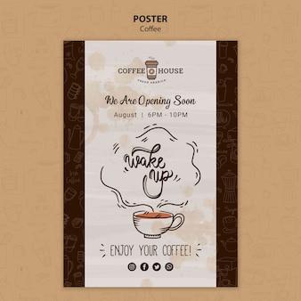 Modelo de cartaz de café com elementos de mão desenhada