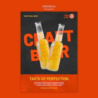 Modelo de cartaz de cerveja grunge