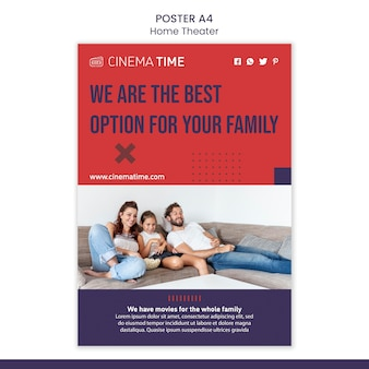 Modelo de cartaz de cinema em casa com foto