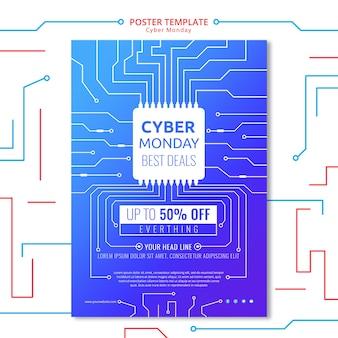 Modelo de cartaz de circuito cyber segunda-feira