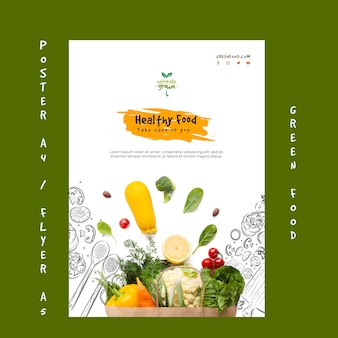 Modelo de cartaz de comida saudável com foto
