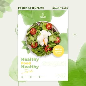 Modelo de cartaz de conceito de comida saudável