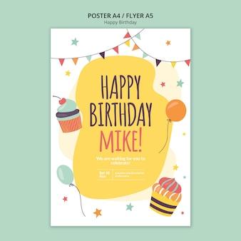 Modelo de cartaz de conceito feliz aniversário