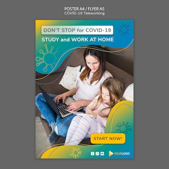 Modelo de cartaz de coronavírus com foto
