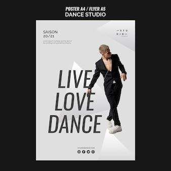 Modelo de cartaz de dança de estúdio e homem em traje elegante