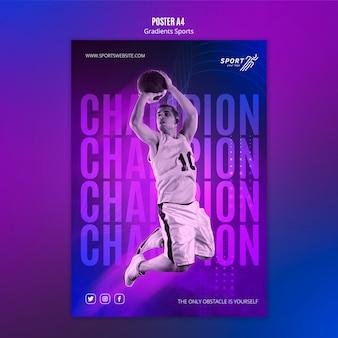Modelo de cartaz de esporte gradiente