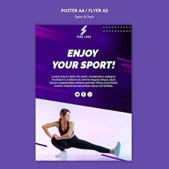 Modelo de cartaz de esportes e tecnologia com foto