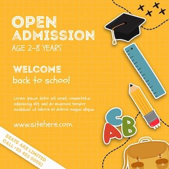 Modelo de cartaz de evento de admissão aberta