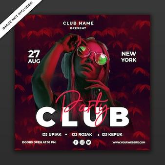 Modelo de cartaz de evento de clube de festa, tamanho quadrado