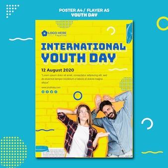 Modelo de cartaz de evento do dia da juventude