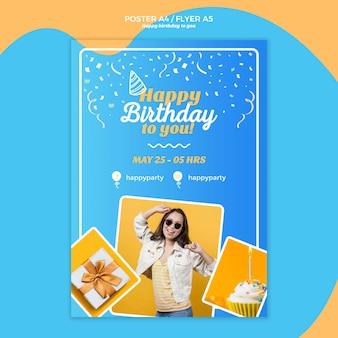Modelo de cartaz de feliz aniversário