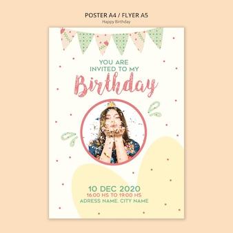 Modelo de cartaz de festa de aniversário com foto