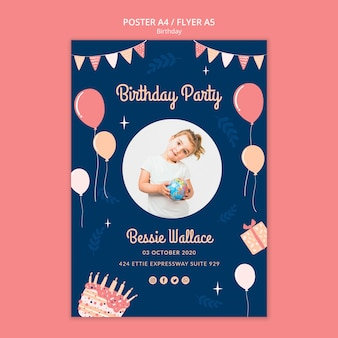 Modelo de cartaz de festa de aniversário