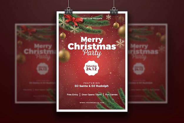 Modelo de cartaz de festa de natal feliz