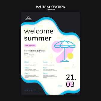 Modelo de cartaz de festa de verão bem-vindo