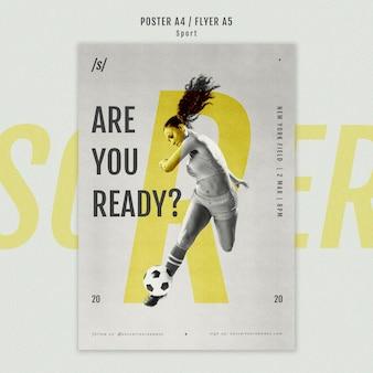 Modelo de cartaz de jogador de futebol feminino