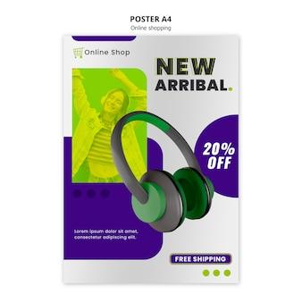 Modelo de cartaz de loja on-line de dispositivos com fones de ouvido