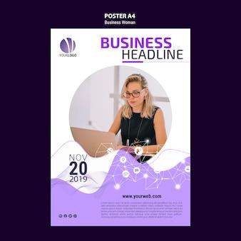 Modelo de cartaz de mulher de negócios