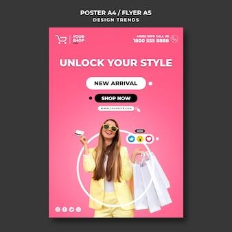 Modelo de cartaz de mulher para compras