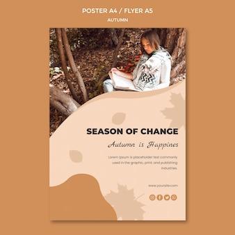 Modelo de cartaz de outono