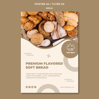 Modelo de cartaz de pão macio com sabor premium