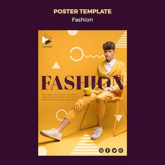 Modelo de cartaz de roupas de moda glamour