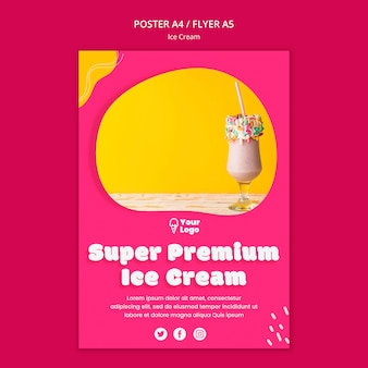 Modelo de cartaz de sorvete super premium