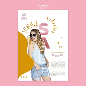Modelo de cartaz de venda verão com foto