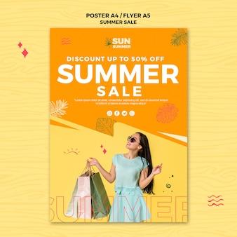Modelo de cartaz de vendas com desconto de verão