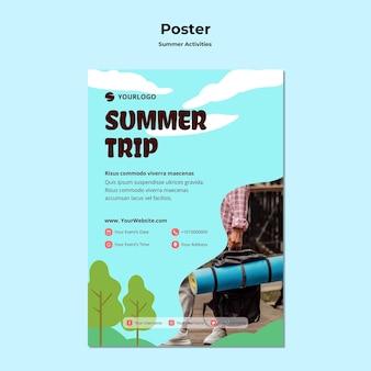 Modelo de cartaz de viagens de verão