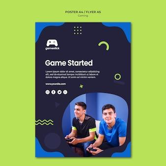 Modelo de cartaz de videogame com foto