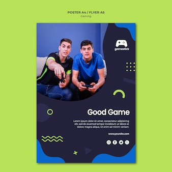 Modelo de cartaz de videogame