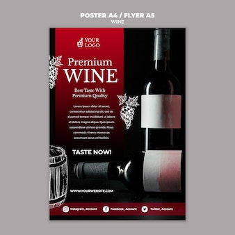 Modelo de cartaz - degustação de vinhos