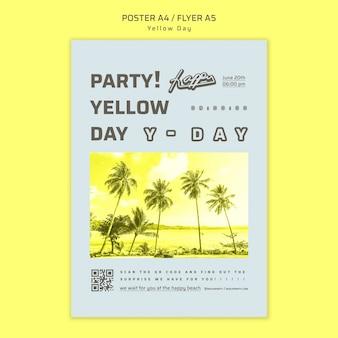 Modelo de cartaz do conceito de dia amarelo