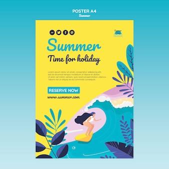 Modelo de cartaz do conceito de verão