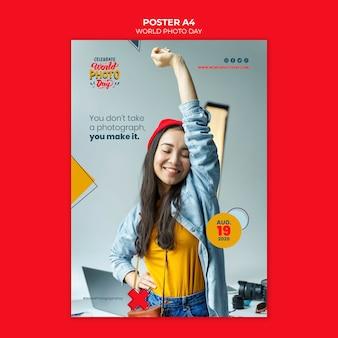Modelo de cartaz do dia mundial da foto