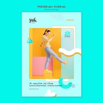 Modelo de cartaz do mundo sorriso dia conceito