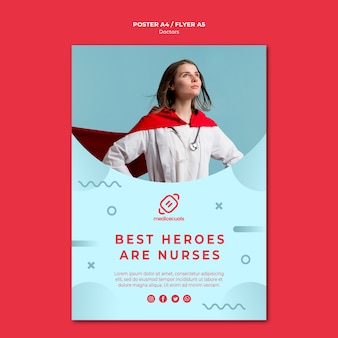 Modelo de cartaz - enfermeira herói vestindo capa