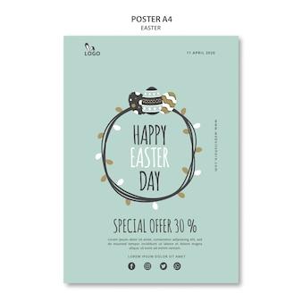 Modelo de cartaz feliz dia da páscoa