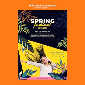 Modelo de cartaz festival da primavera
