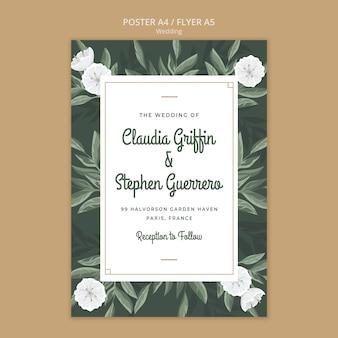 Modelo de cartaz floral elegante para casamento