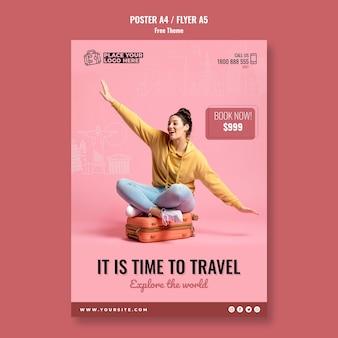 Modelo de cartaz - hora de viajar